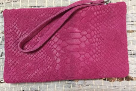 Glamour of fashion croco tasje fuchsia